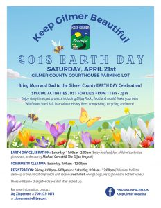 Flyer for Keep Gilmer County Beautiful 2018 Earth Day